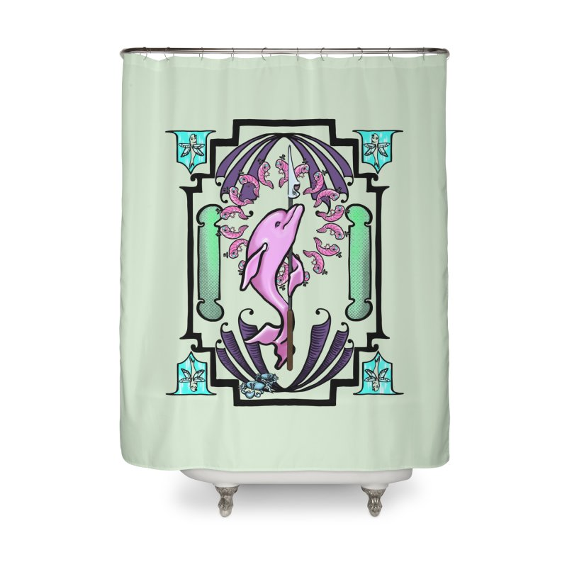 Nouveau Dolphin Home Shower Curtain by Babedrienne's Artist Shop