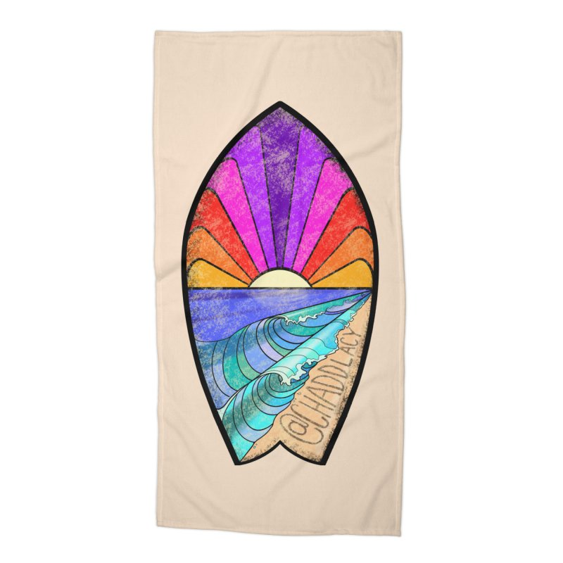 Sunset Surfboard Accessories Beach Towel by Babedrienne's Artist Shop