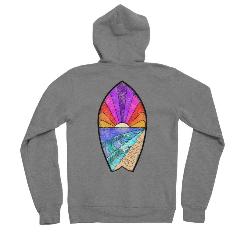 Sunset Surfboard Men's Sponge Fleece Zip-Up Hoody by Babedrienne's Artist Shop