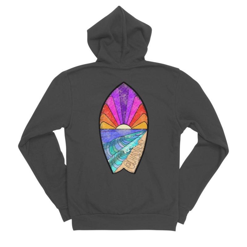 Sunset Surfboard Women's Sponge Fleece Zip-Up Hoody by Babedrienne's Artist Shop