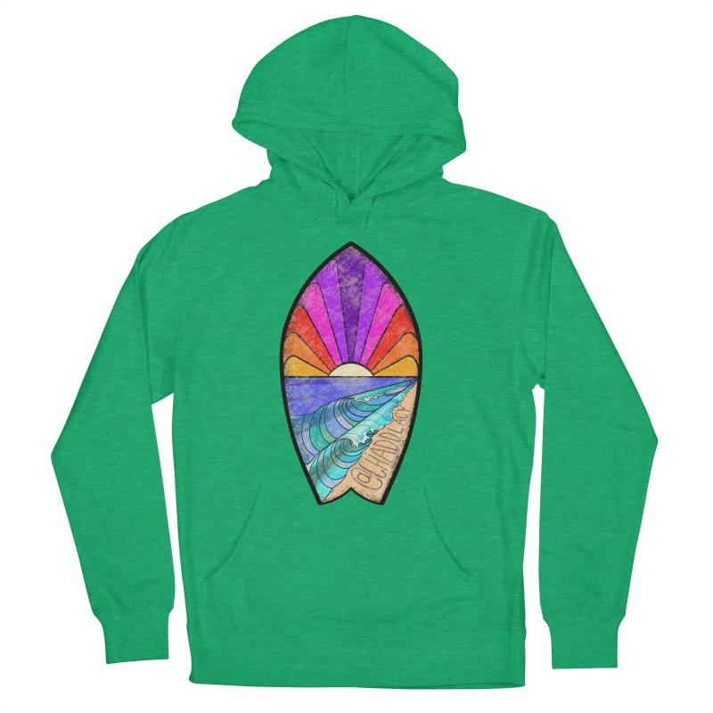 Sunset Surfboard Men's French Terry Pullover Hoody by Babedrienne's Artist Shop