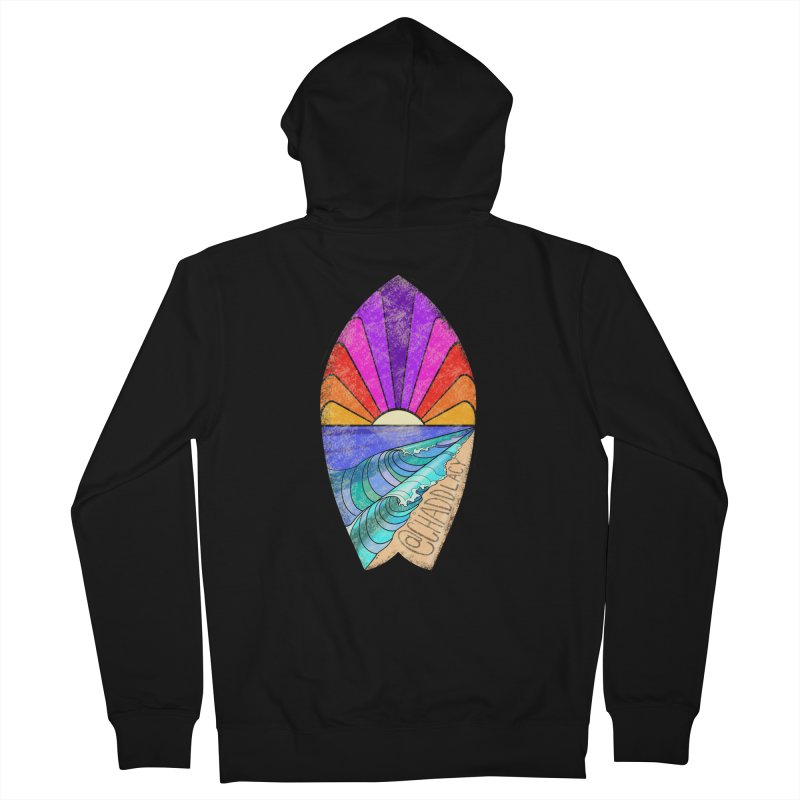 Sunset Surfboard Men's French Terry Zip-Up Hoody by Babedrienne's Artist Shop