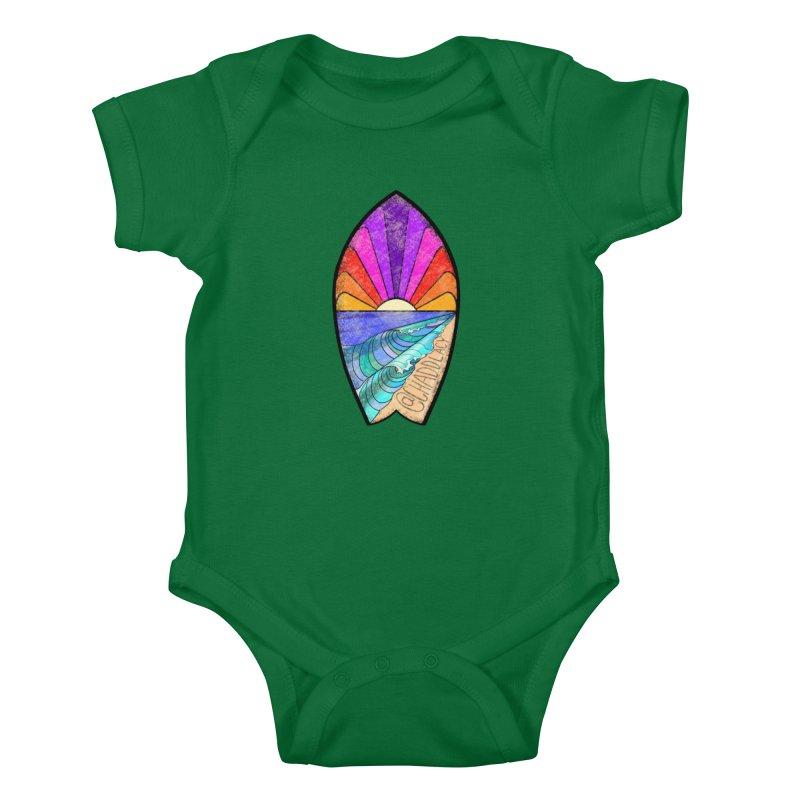 Sunset Surfboard Kids Baby Bodysuit by Babedrienne's Artist Shop