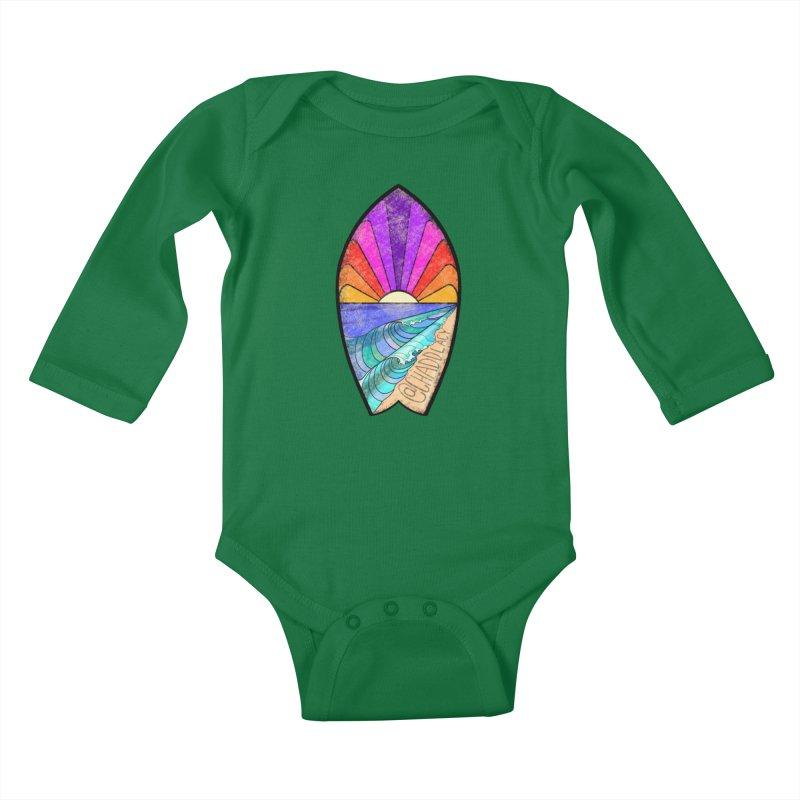 Sunset Surfboard Kids Baby Longsleeve Bodysuit by Babedrienne's Artist Shop