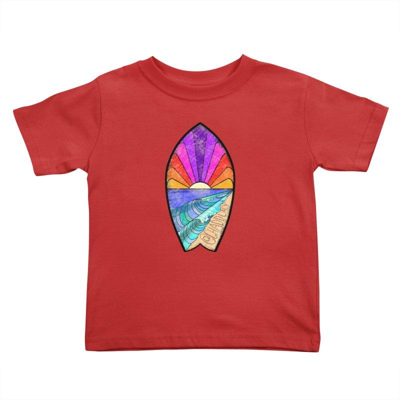 Sunset Surfboard Kids Toddler T-Shirt by Babedrienne's Artist Shop