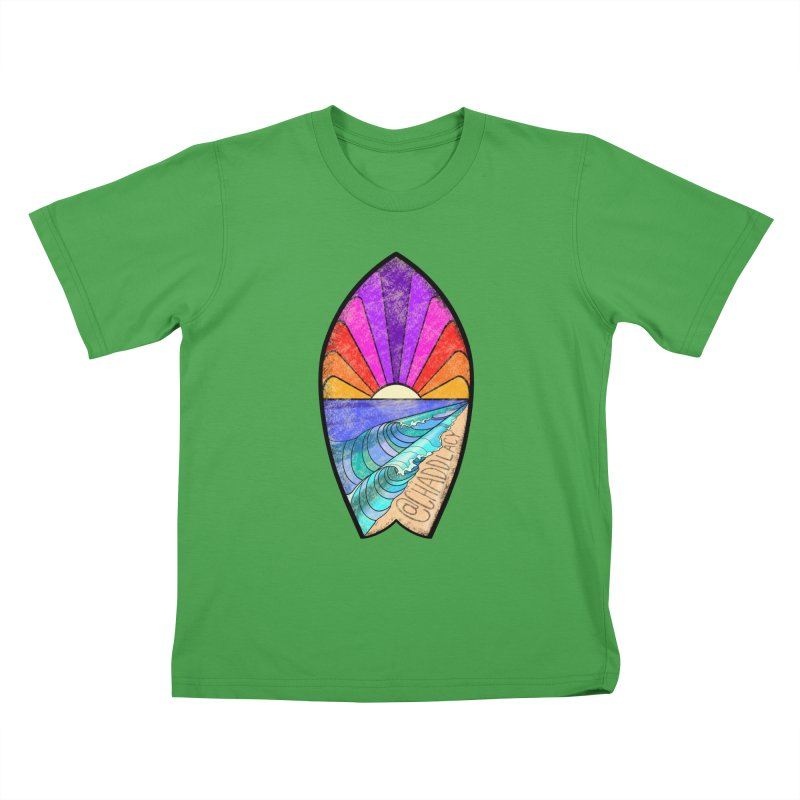 Sunset Surfboard Kids T-Shirt by Babedrienne's Artist Shop