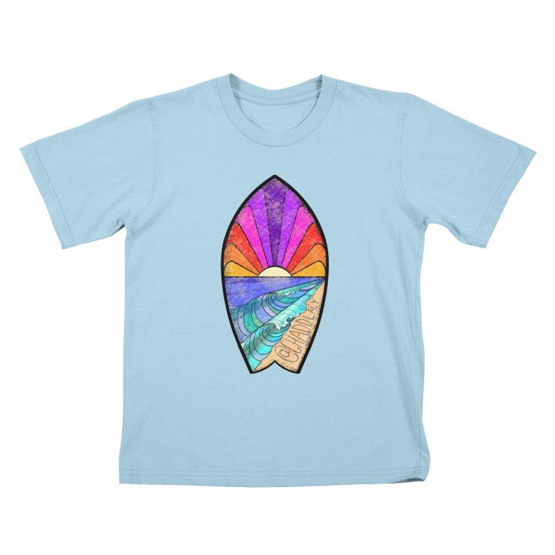 Sunset Surfboard Kids T-Shirt by Babedrienne's Artist Shop