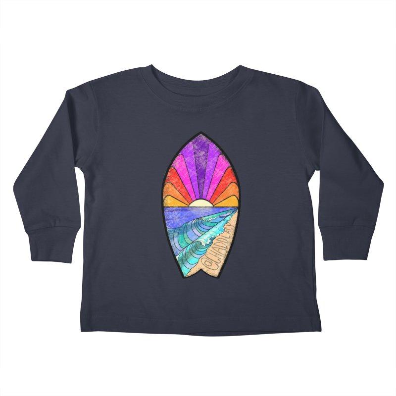 Sunset Surfboard Kids Toddler Longsleeve T-Shirt by Babedrienne's Artist Shop