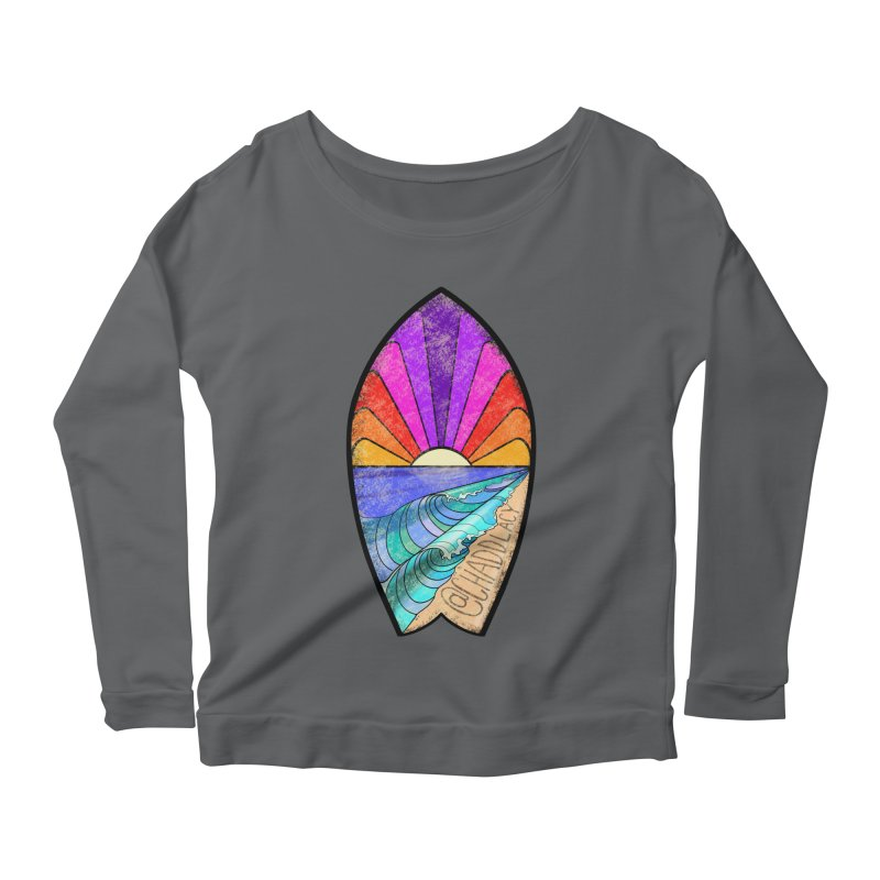 Sunset Surfboard Women's Scoop Neck Longsleeve T-Shirt by Babedrienne's Artist Shop