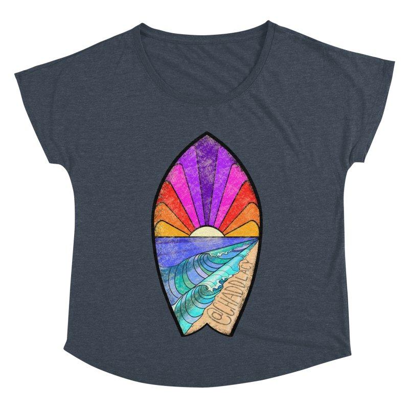 Sunset Surfboard Women's Dolman Scoop Neck by Babedrienne's Artist Shop