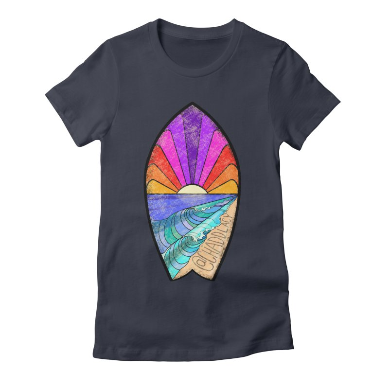 Sunset Surfboard Women's Fitted T-Shirt by Babedrienne's Artist Shop