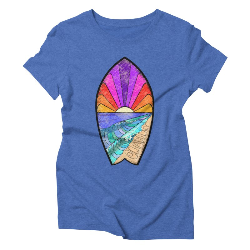 Sunset Surfboard Women's Triblend T-Shirt by Babedrienne's Artist Shop