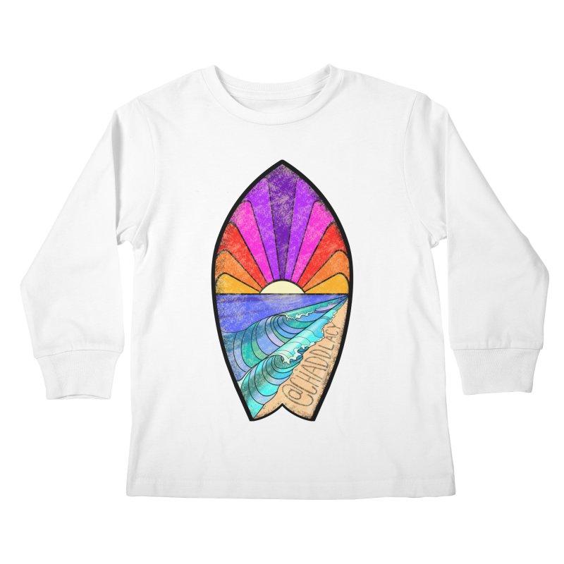 Sunset Surfboard Kids Longsleeve T-Shirt by Babedrienne's Artist Shop