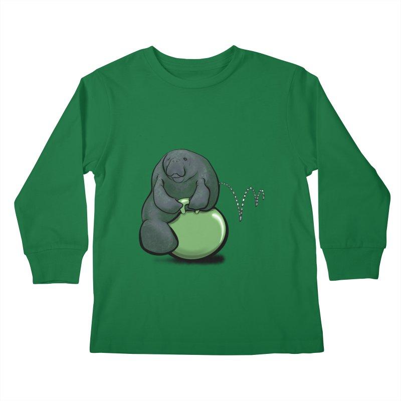 Bouncy Ball Manatee Kids Longsleeve T-Shirt by Babedrienne's Artist Shop