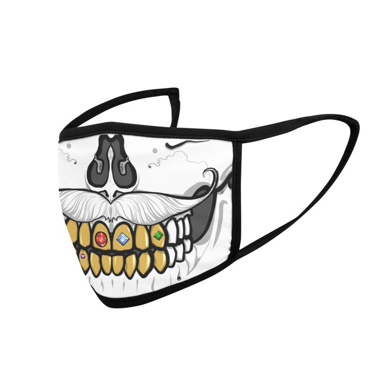 Babedrienne's Bones Mustachioed Skull with Gold Teeth Accessories Face Mask by Babedrienne's Artist Shop