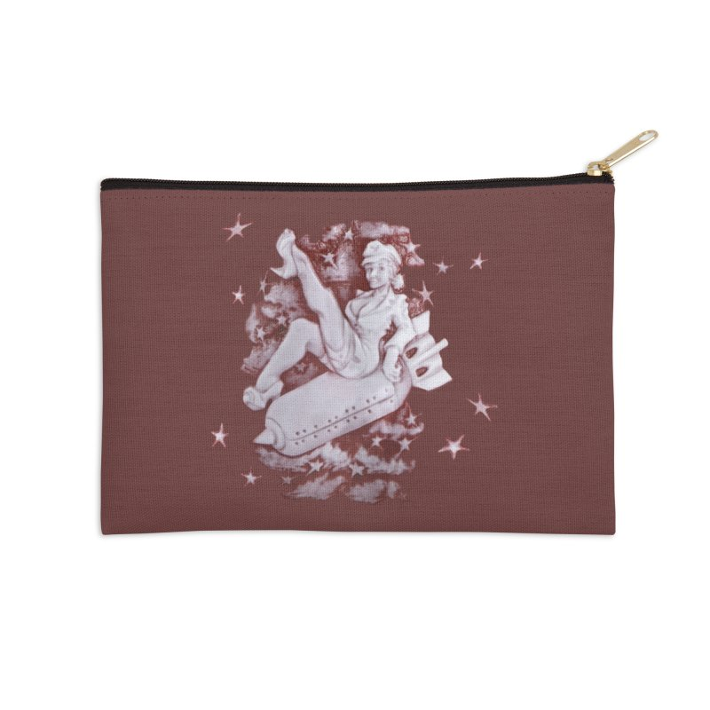 Pinup Bomber Girl Accessories Zip Pouch by Babedrienne's Artist Shop