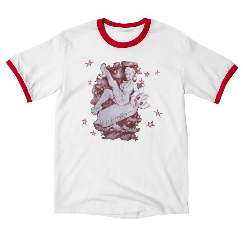 Pinup Bomber Girl Men's T-Shirt by Babedrienne's Artist Shop