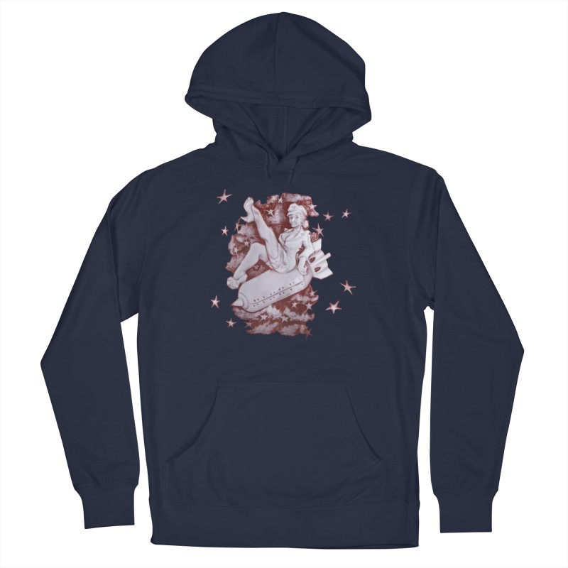 Pinup Bomber Girl Men's Pullover Hoody by Babedrienne's Artist Shop