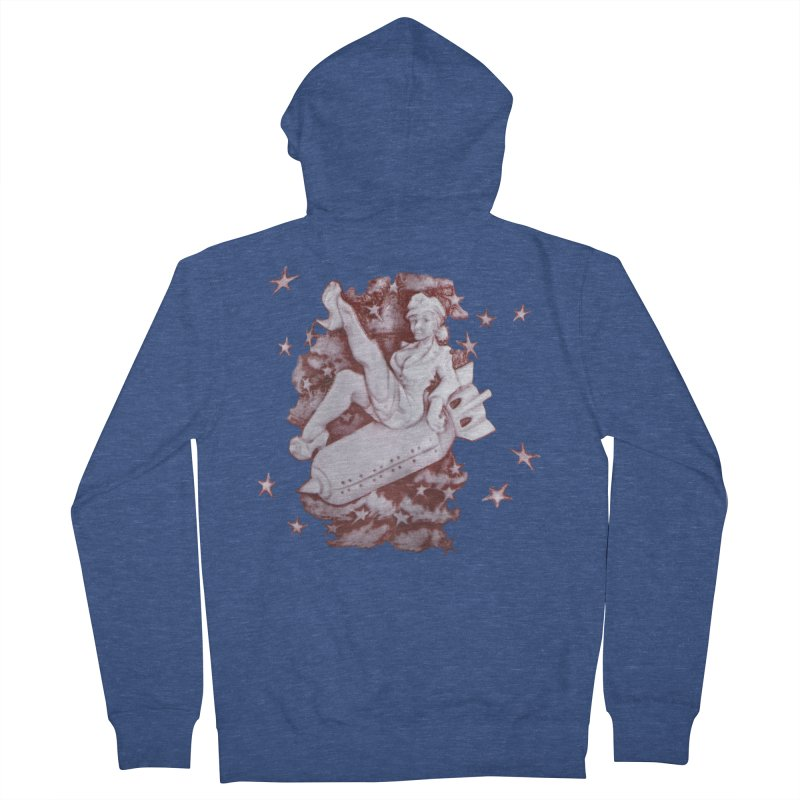 Pinup Bomber Girl Men's Zip-Up Hoody by Babedrienne's Artist Shop