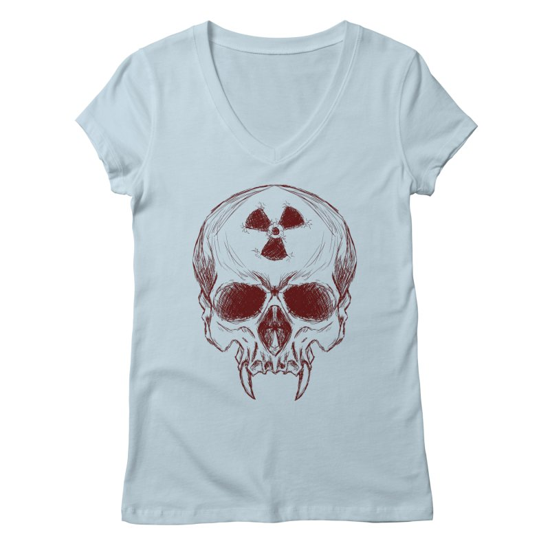 Night Shift Vampire Outline Dark Women's V-Neck by Bandit Bots