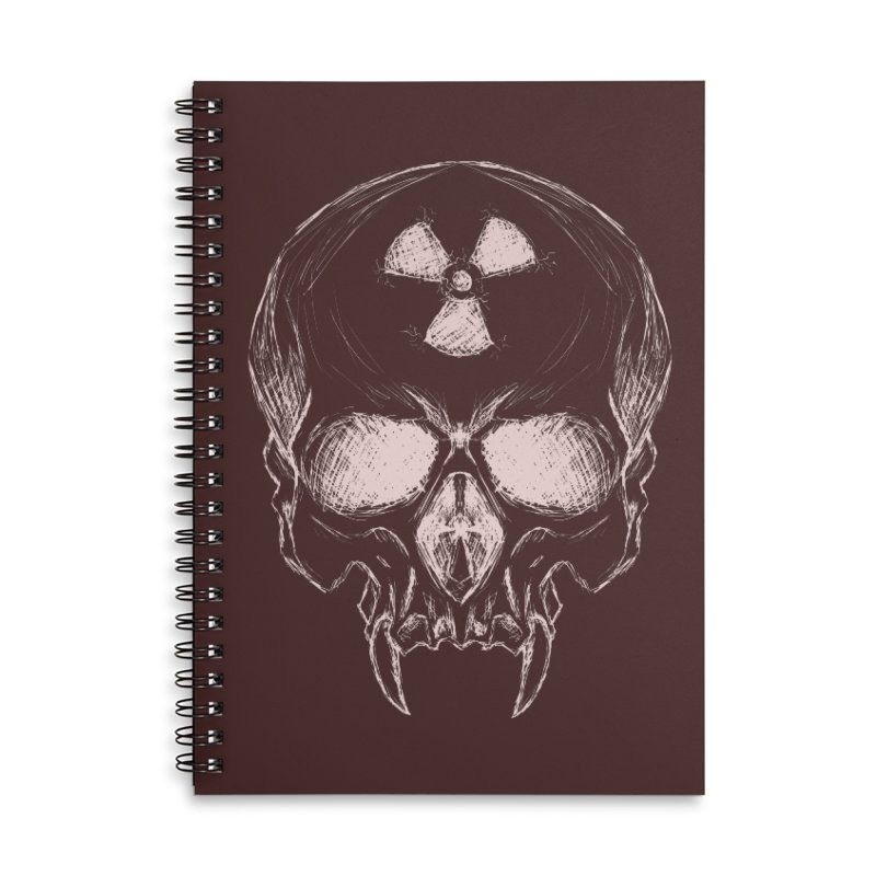 Night Shift Vampire Outline Light Accessories Lined Spiral Notebook by Bandit Bots