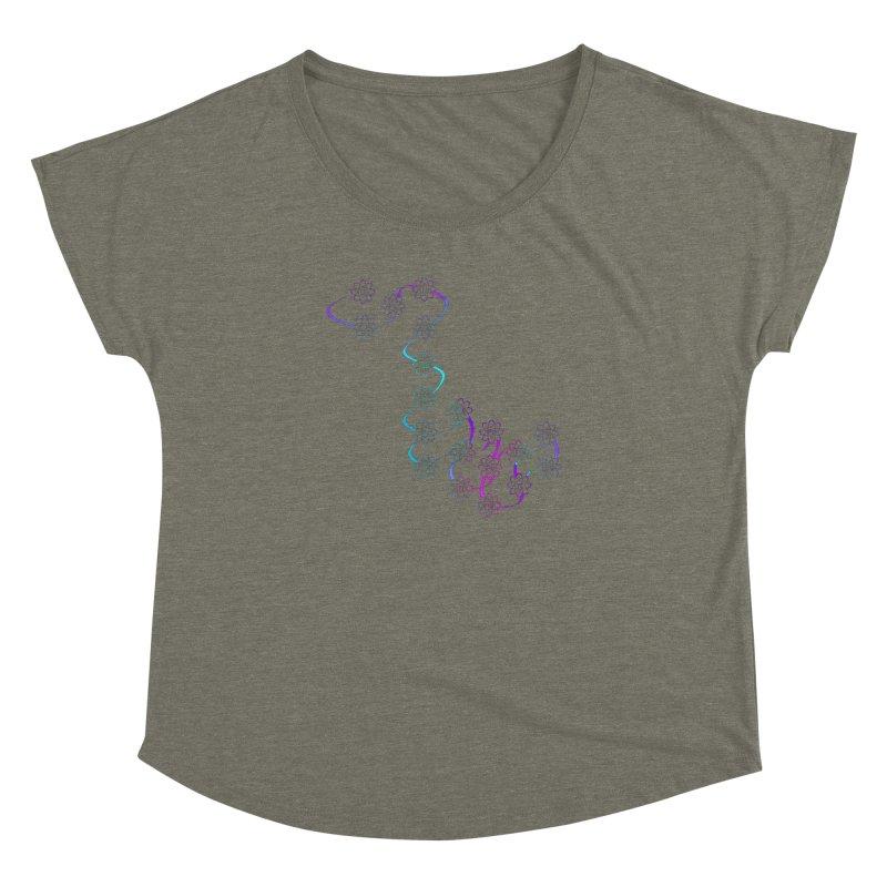 Colorsplash Isotopic Flower Chain Women's Dolman Scoop Neck by Bandit Bots