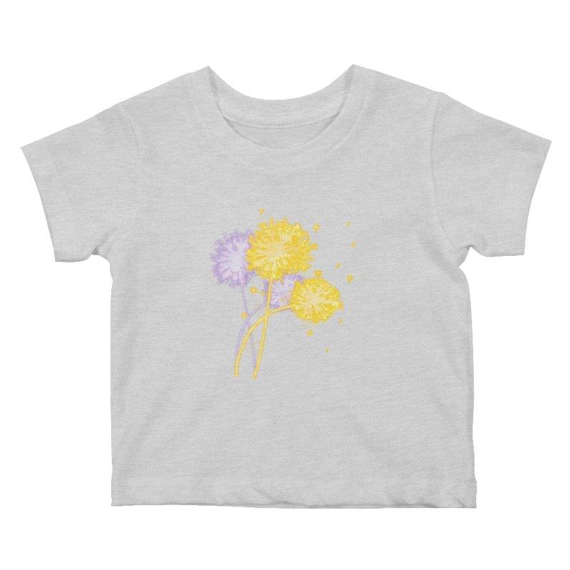 Dandelion Dreams Kids Baby T-Shirt by Bandit Bots
