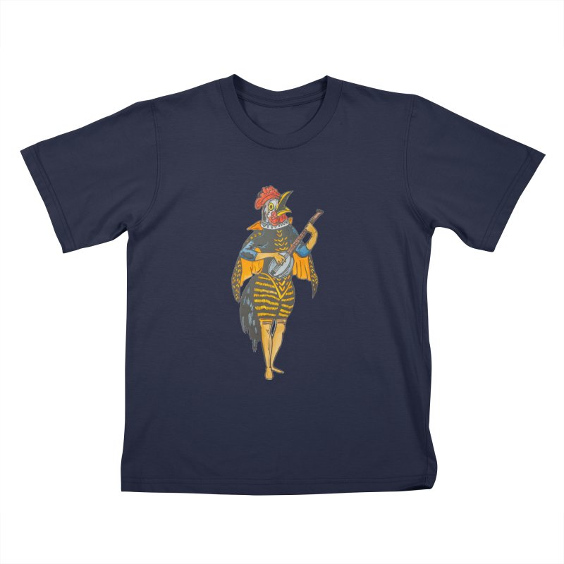 Banjo Rooster Kids T-Shirt by BareBonesStudio's Artist Shop