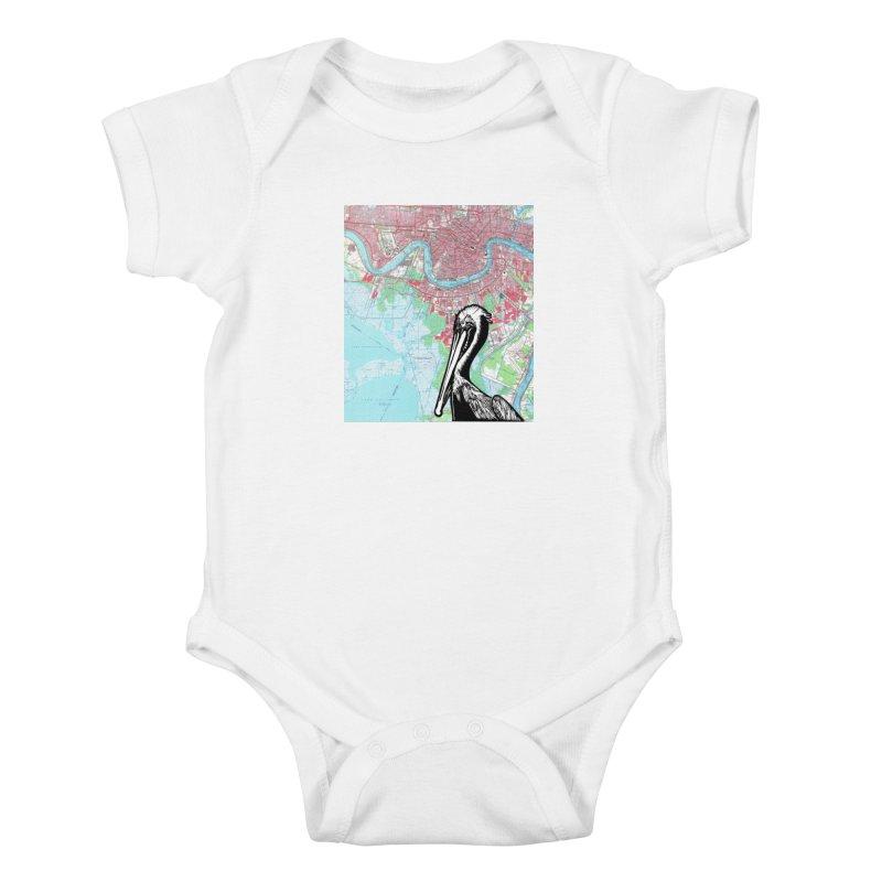 New Orleans Pelican Kids Baby Bodysuit by BareBonesStudio's Artist Shop
