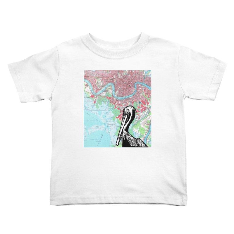 New Orleans Pelican Kids Toddler T-Shirt by BareBonesStudio's Artist Shop