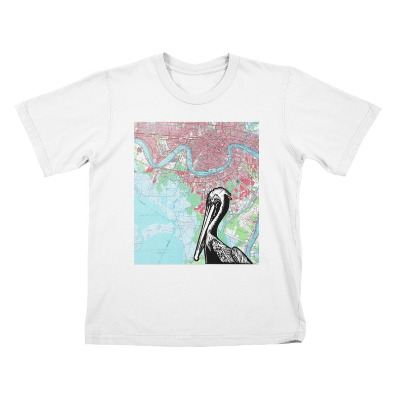New Orleans Pelican Kids T-Shirt by BareBonesStudio's Artist Shop