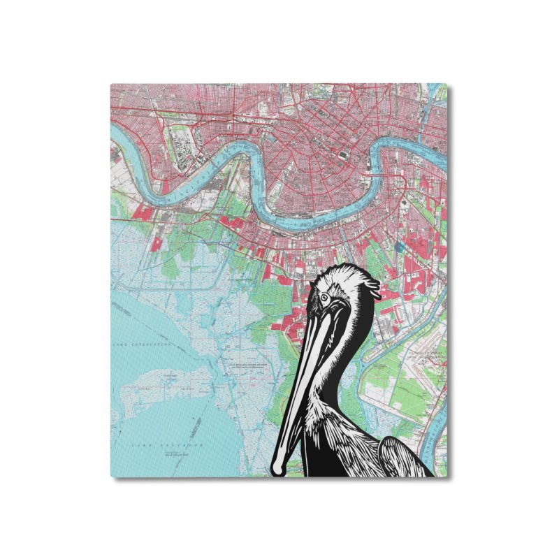 New Orleans Pelican Home Mounted Aluminum Print by BareBonesStudio's Artist Shop