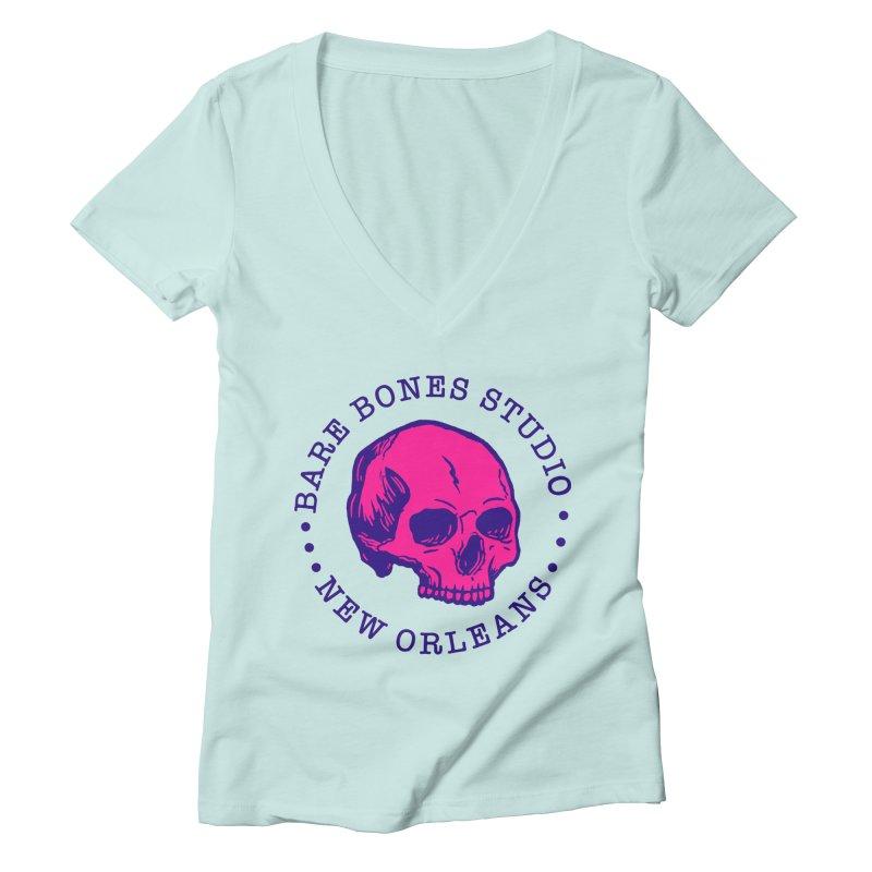 Bare Bones Studio Skull Women's V-Neck by BareBonesStudio's Artist Shop