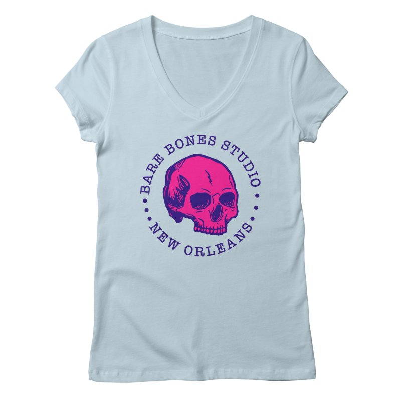 Bare Bones Studio Skull Women's V-Neck by BareBonesStudio's Artist Shop