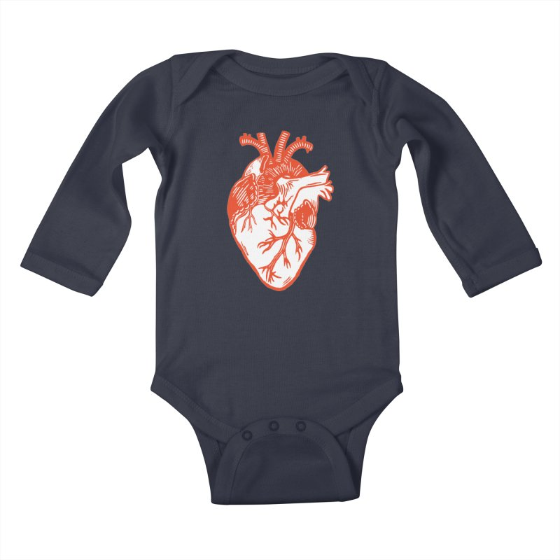 Heart Kids Baby Longsleeve Bodysuit by BareBonesStudio's Artist Shop