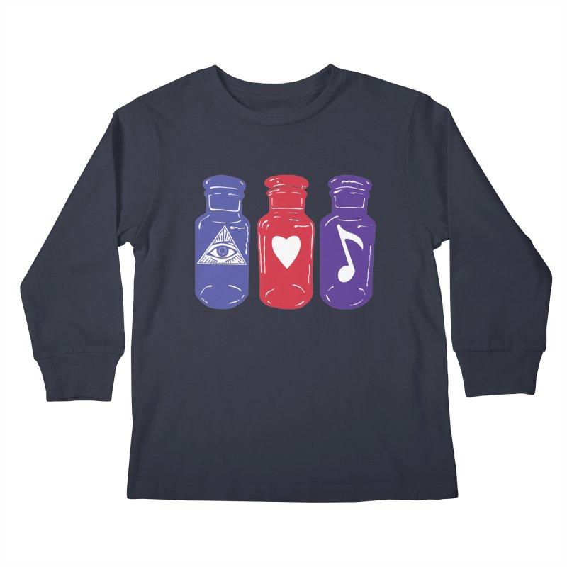 Wisdom, Love and Harmony Kids Longsleeve T-Shirt by BareBonesStudio's Artist Shop