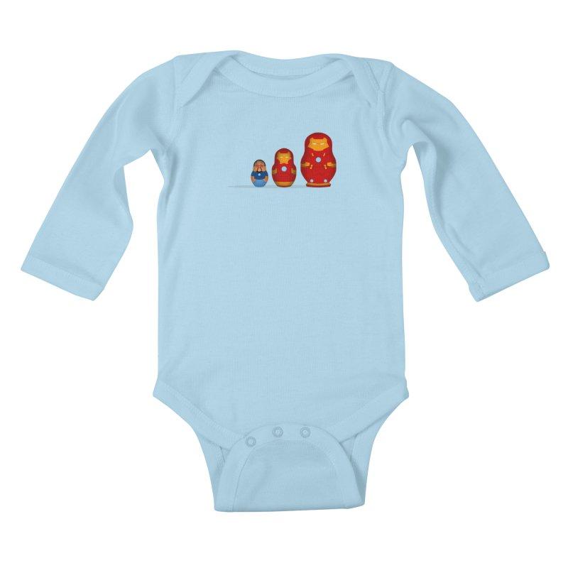Iron Baboesjka Kids Baby Longsleeve Bodysuit by Bavo's Artist Shop