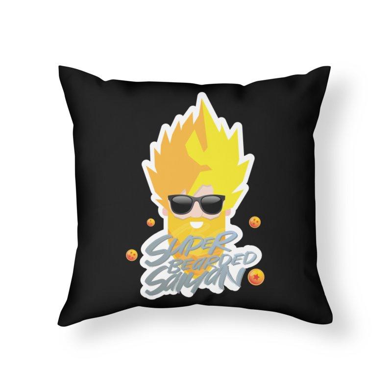 SUPER BEARDED SAIYAN Home Throw Pillow by Beardedguy's Shop