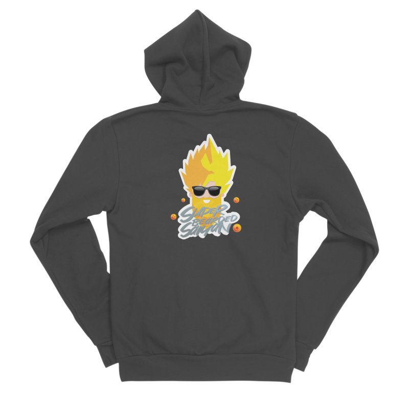 SUPER BEARDED SAIYAN Men's Sponge Fleece Zip-Up Hoody by Beardedguy's Shop