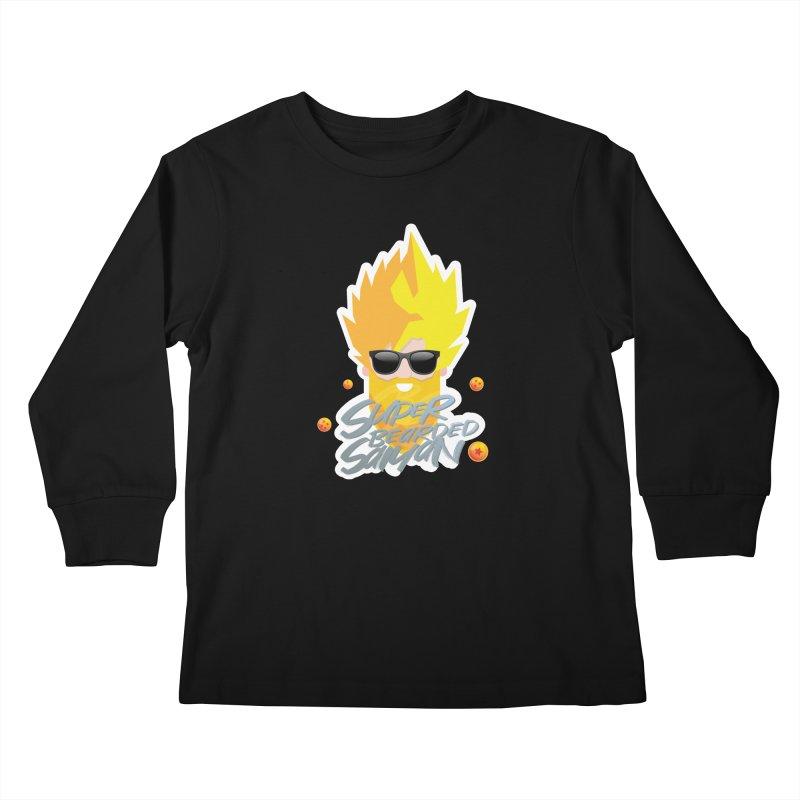 SUPER BEARDED SAIYAN Kids Longsleeve T-Shirt by Beardedguy's Shop