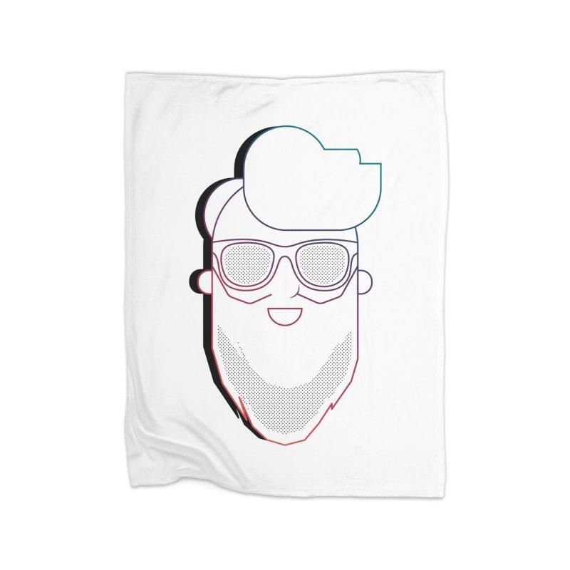 Beardedlines & dots Home Fleece Blanket Blanket by Beardedguy's Shop