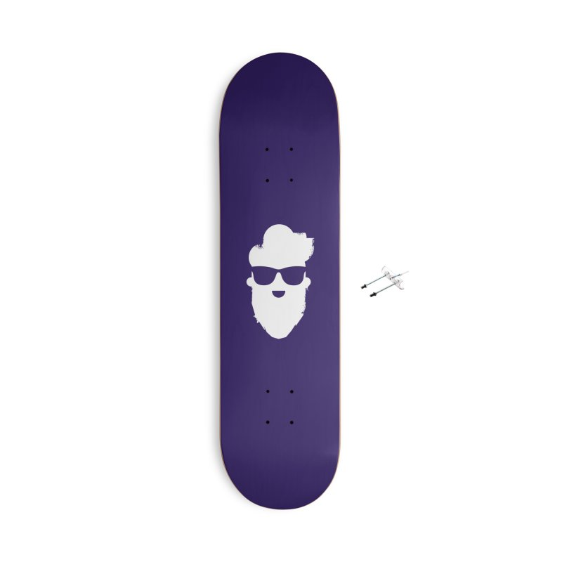 White Beard Guy Accessories With Hanging Hardware Skateboard by Beardedguy's Shop