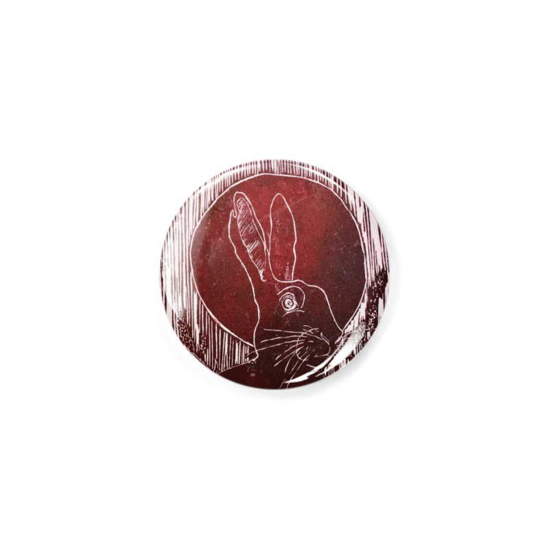 Hare Under the Blood Moon Accessories Button by Beautifully Grotesque Artist Shop