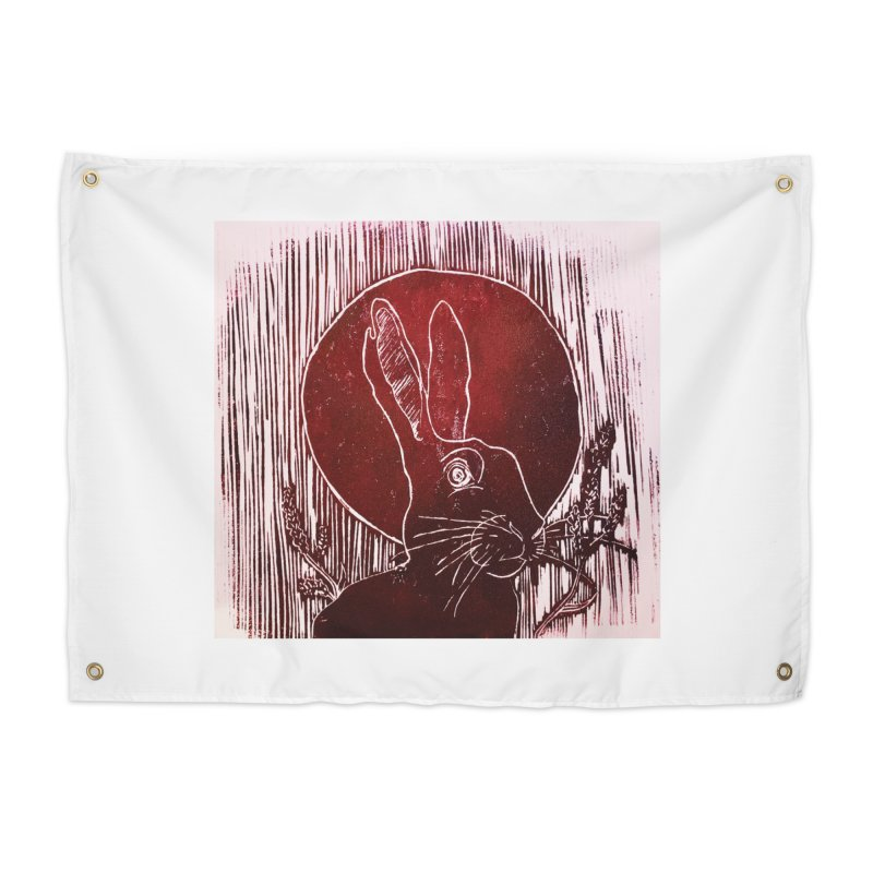 Hare Under the Blood Moon Home Tapestry by Beautifully Grotesque Artist Shop