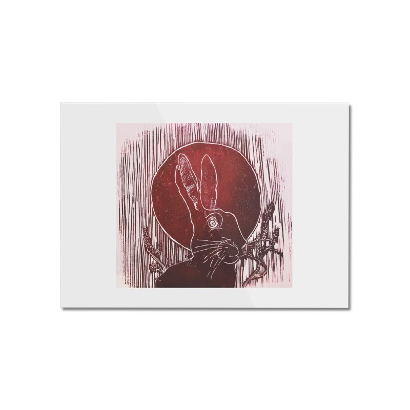 Hare Under the Blood Moon Home Mounted Acrylic Print by Beautifully Grotesque Artist Shop