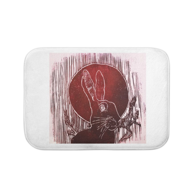 Hare Under the Blood Moon Home Bath Mat by Beautifully Grotesque Artist Shop