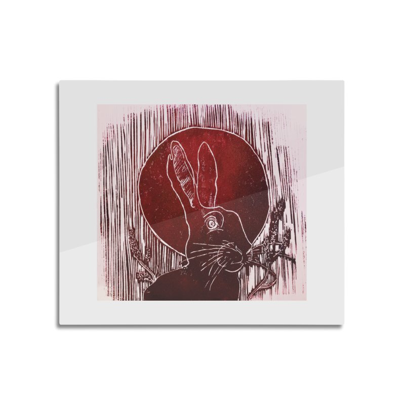 Hare Under the Blood Moon Home Mounted Aluminum Print by Beautifully Grotesque Artist Shop