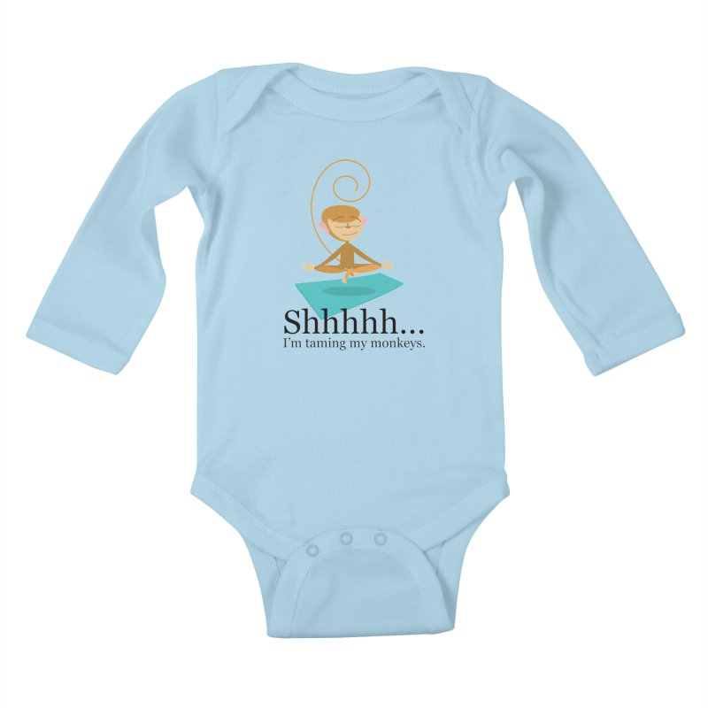 Monkey Meditation Kids Baby Longsleeve Bodysuit by BestFriends's Artist Shop