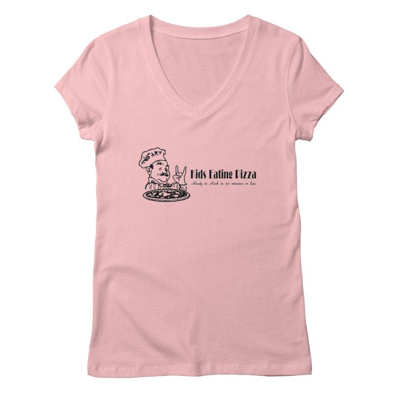 Kids Eating Pizza - Defunct Band Shirt (on lt colors Women's Regular V-Neck by BestMarkMiller's Artist Shop