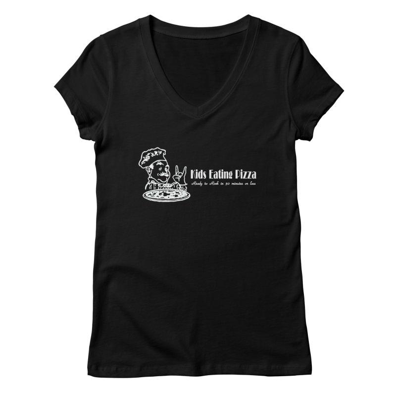 Kids Eating Pizza - Defunct Band Shirt (on drk colors) Women's Regular V-Neck by BestMarkMiller's Artist Shop